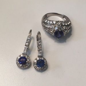 NWOT Sterling Silver Blue Sapphire CZ Set